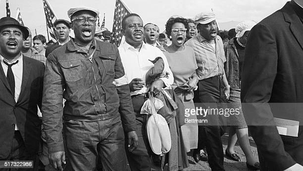 Montgomery AL The SelmatoMontgomery freedom marchers including Dr Martin Luther King and Rev Ralph Abernathy enter the St Jude Hospital grounds where...