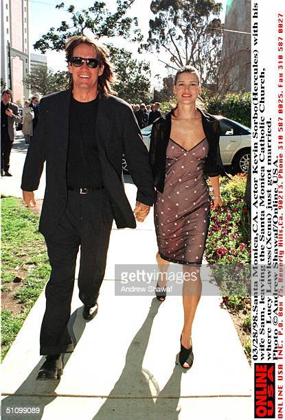 Santa MonicaCa Actor Kevin Sorbo And His Wife Sam Leaving The Santa Monica Catholic Church Where Lucy Lawless Had Just Got Married