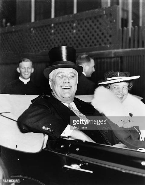 Washinton DC Leaving church after Easter Day services flashing one of his radiant smiles President Franklin D Roosevelt radiates the happy spirit of...