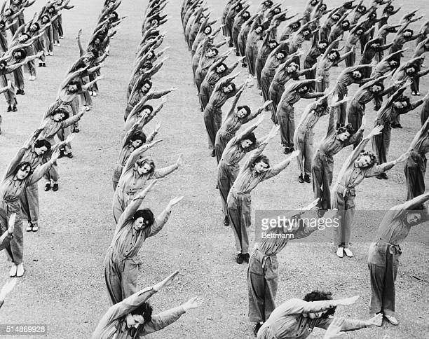 04/1943Norman Oklahoma Physical Education for WAVEslimbering up and strengthing muscles is an important part of the training of WAVEs to be aviation...