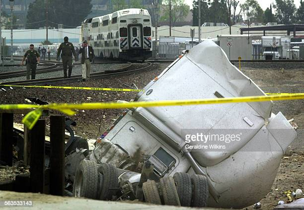 M0408train2GW–– A metrolink train slammed into a big rig at the Cerritos street crossing in Anaheim today killing the man driving the truck He was...