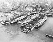 New York NY 3 ships of the Cunard Lines the big transAtlantic fleet get ready to sail from New York this week with more than 3 300 passengers On the...