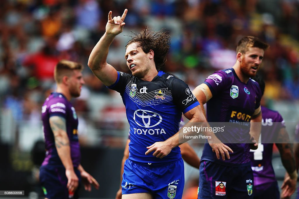 Kyle Feldt of the North Queensland Cowboys celebrates after scoring a try during the 2016 Auckland Nines quarter final match between the Melbourne Storm and the North Queensland Cowboys at Eden Park on February 7, 2016 in Auckland, New Zealand.