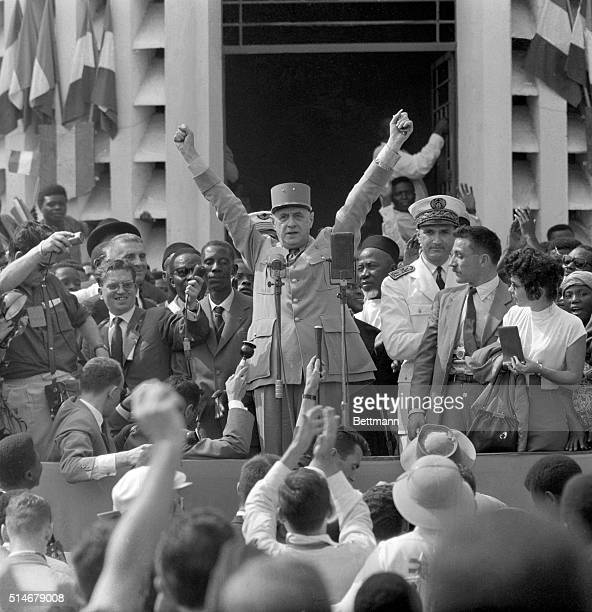 Brazaville French Equatorial Africa French Premier Charles De Gaulle stretches out his arms to emphasize a point during his speech at Potopoto a...
