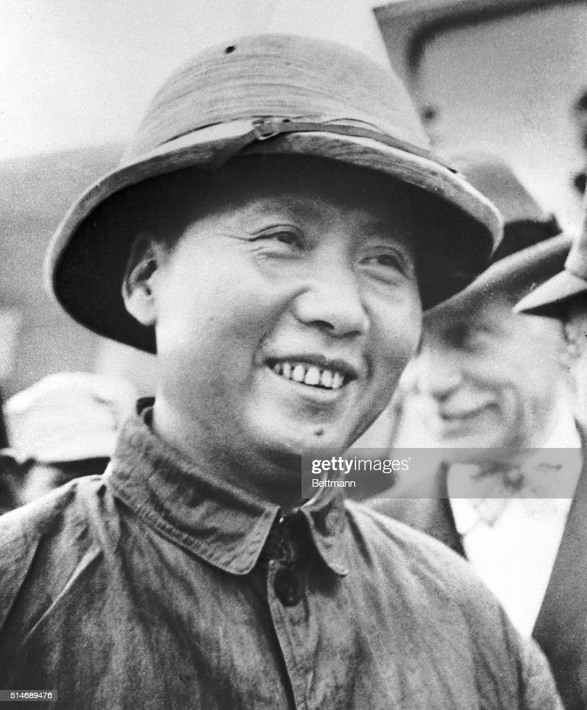 COMMUNIST LEADER Mao TseTung leader of Communist faction with headquarters at Yenan China flew to Chungking Aug 28th with US Ambassador Major General...