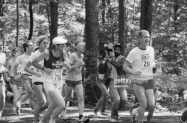 Camp David MD President Carter makes his way along the 10kilometer course of the Catoctin Mountain Park 9/15 The President along with the rest of the...