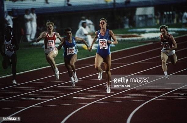 100m Frauen Finale ZieleinlaufKatrin Krabbe gewinnt vorSilke Möller