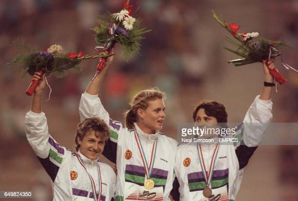 100m WOMEN MEDALS lr SILKE MOLLER silver KATRIN KRABBE gold KERSTIN BEHRENDT bronze ALL EAST GERMANY