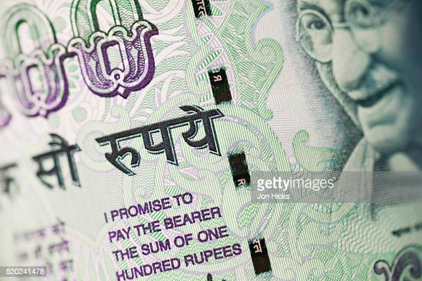 100-Rupee Note with Security Strip Running Through It