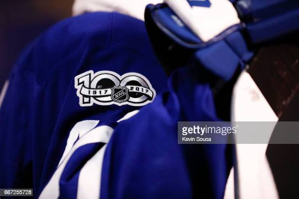 NHL 100th anniversary logo on the jersey of Nazem Kadri of the Toronto Maple Leafs during the second period intermission at the Air Canada Centre on...
