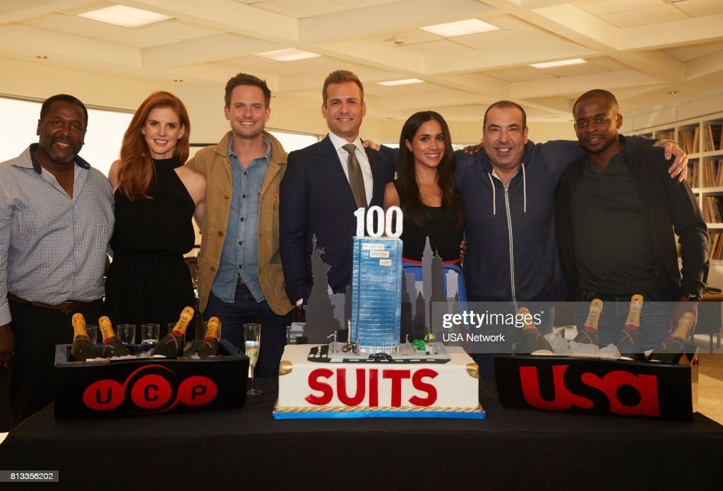 SUITS -- 100th Episode Celebration -- Pictured: (l-r) Wendell Pierce, Sarah Rafferty, Patrick J. Adams, Gabriel Macht, Meghan Markle, Rick Hoffman, Dulé Hill --