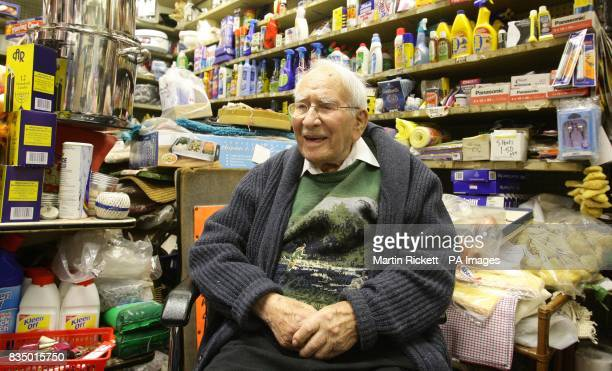 100yearold shop keeper Jack Yaffe at his household goods store in Prestwich Greater Manchester which he has run for 75 years