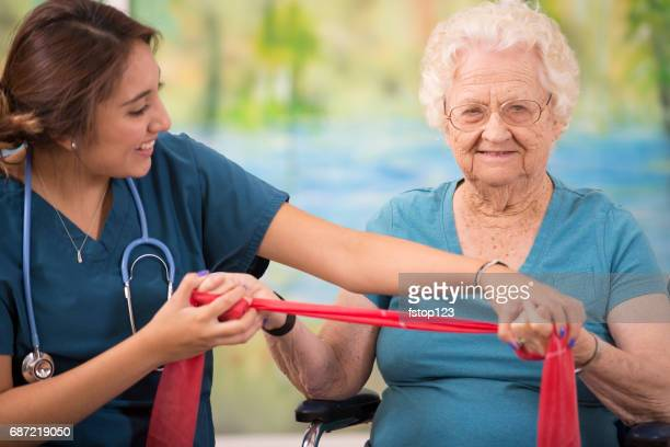 100-Year-Old woman and her home healthcare physical therapist.