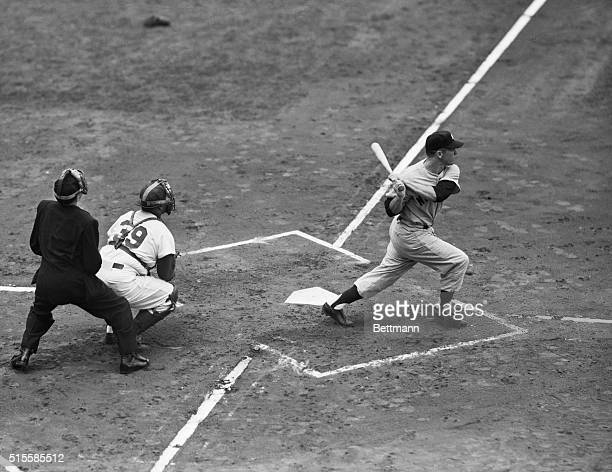 10/1/1952New York NY Mickey Mantle Yankee is shown popping up to shortstop PeeWee Reese of the Dodgers in the first inning in the first game of the...