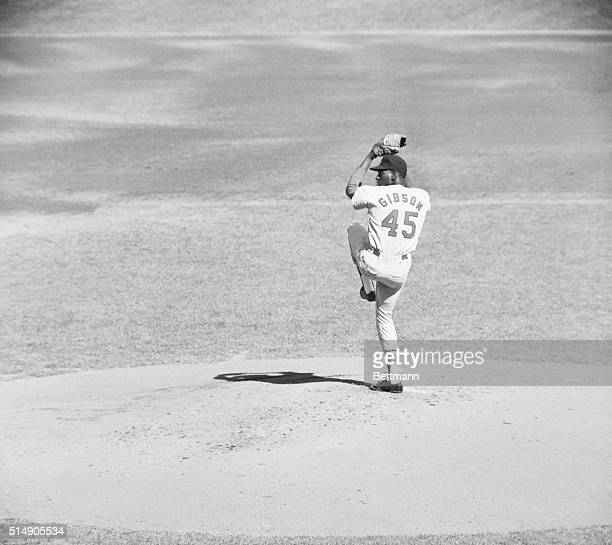 New York NY Action shot of St Louis Cardinals' Bob Gibson pitching in the fifth game of the World Series against the Yankees