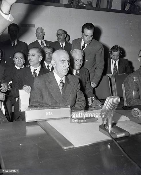 New York NY Mohammed Mosaddeq Iranian politician 'Premier Mossadegh of Iran speaks before security Council hearing at the United Nations