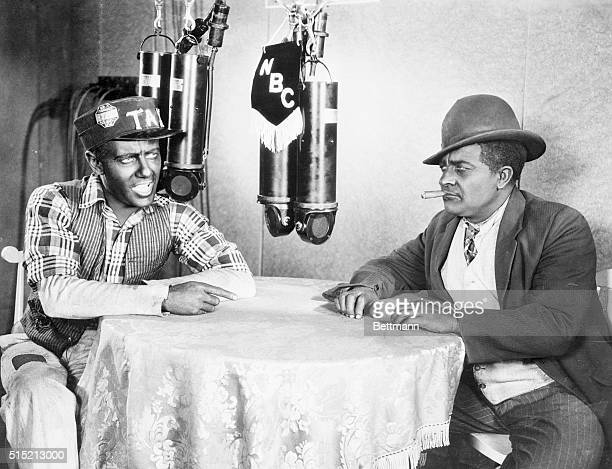 Los Angeles CA 'Amos 'n' Andy' famous radio characters broadcasting their famous act to the world while making their motion picture here