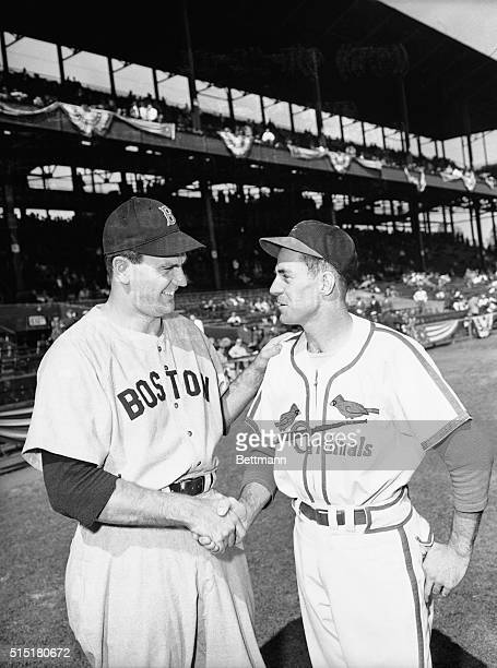 St Louis MO Ready to swing into the final game of the World Series starting pitchers Dave Ferriss of the Red Sox and Murray Dickson of the Cardinals...