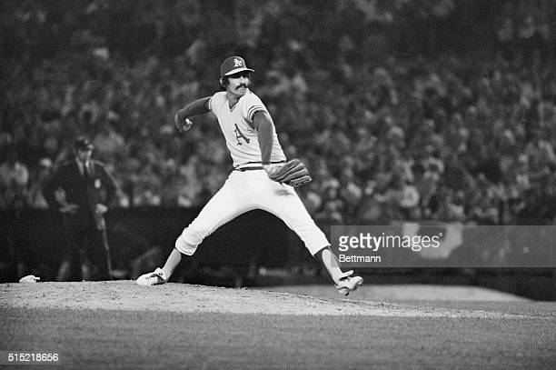 Oakland California Rollie Fingers of A's pitching against Dodgers in Oakland Coliseum
