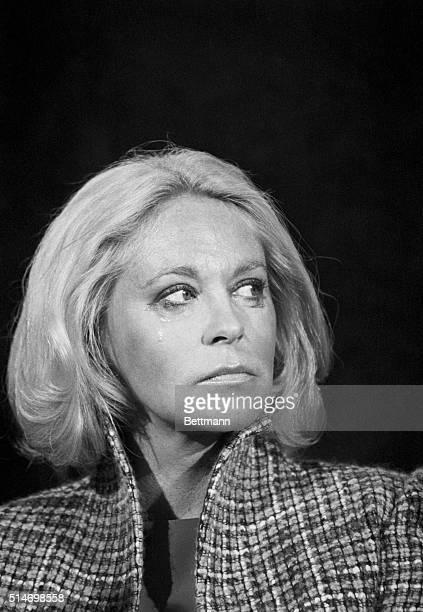 10/15/80Boston Massachusetts Tear rolls down the cheek of Joan Kennedy wife of Sen Edward M Kennedy as she and the senator joined President Jimmy...