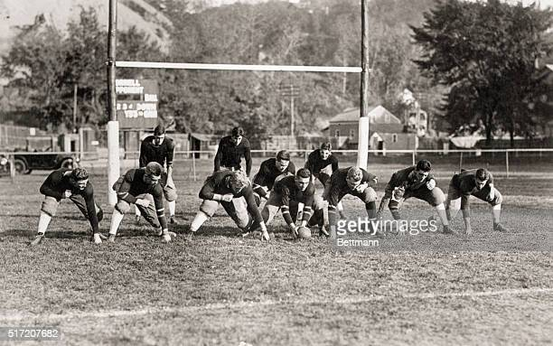 Picture shows the Cornell University football team lineup at a scrimmage during practice