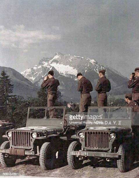 US 101st Airborne Division Infantry in the Bavarian Alps near Berchtesgaden 1945
