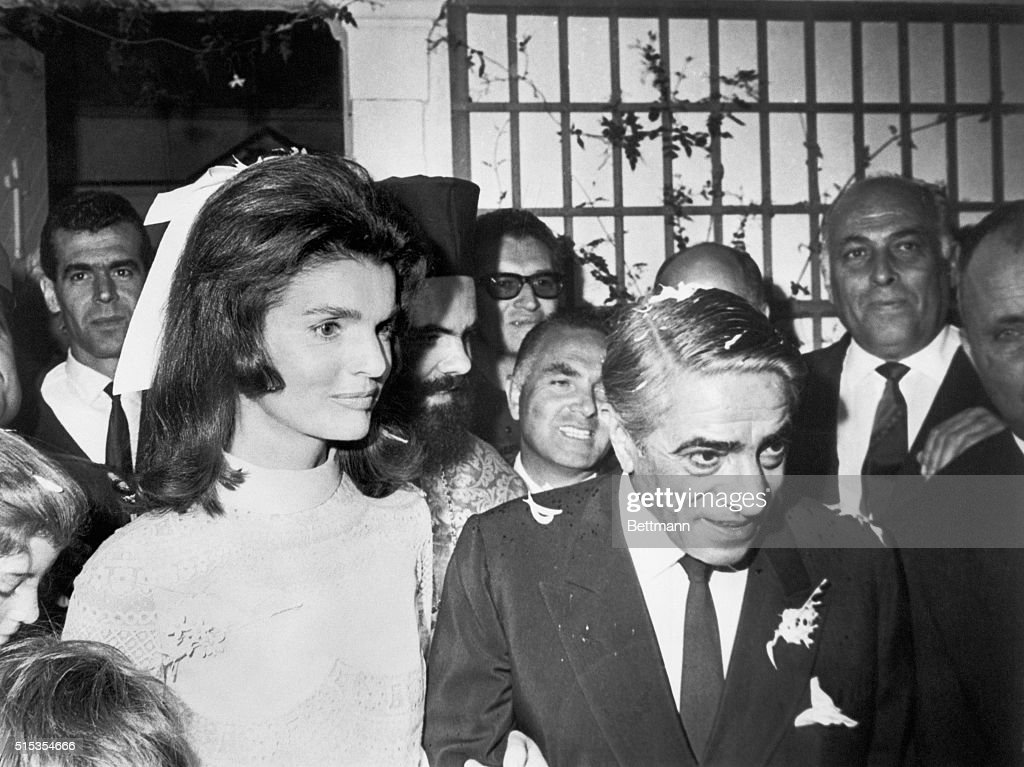 Skorpios Island, Off the coast of Greece- The former <a gi-track='captionPersonalityLinkClicked' href=/galleries/search?phrase=Jacqueline+Kennedy&family=editorial&specificpeople=70028 ng-click='$event.stopPropagation()'>Jacqueline Kennedy</a> and <a gi-track='captionPersonalityLinkClicked' href=/galleries/search?phrase=Aristotle+Onassis&family=editorial&specificpeople=217821 ng-click='$event.stopPropagation()'>Aristotle Onassis</a> leave the chapel on Onassis' private island following their marriage here October 20th. They went immediately to a reception aboard Onassis' acht, Christina.