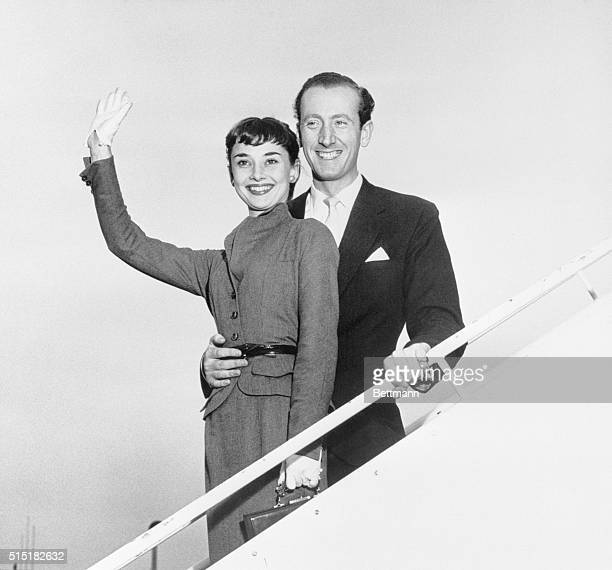 10/2/1952New York NY Film and stage actress Audrey Hepburn and her fiance James Hanson smile broadly upon their arrival from Rome at New York's...