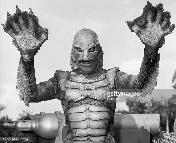 Hollywood CA Getting into position to give folks a scare is the 'Gillman' monster created for the film 'Black Lagoon' Makeup man Bud Westmore...