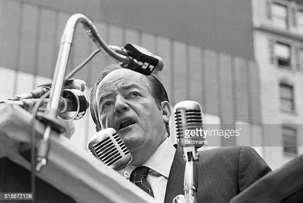 Democratic Presidential hopeful Hubert H Humphrey is surrounded by microphones ready to pick up his every word as he addresses a crowd in New York's...