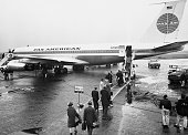 New York NY A portion of the 100 passengers on the Pan American World Airways 707 Jet Clipper which inaugurated the airlines Trans Atlantic services...