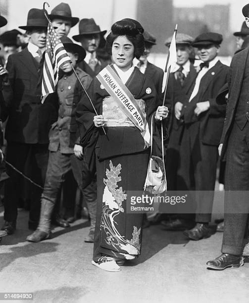 New York NY 20000 suffragists march on Fifth Avenue In center is Madame Kimura prominent Japanese suffragist