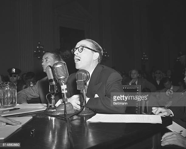 Washington DC Dalton Trumbo above Hollywood screenwriter refused today to tell the House Un American Activities Committee whether he was a Communist...