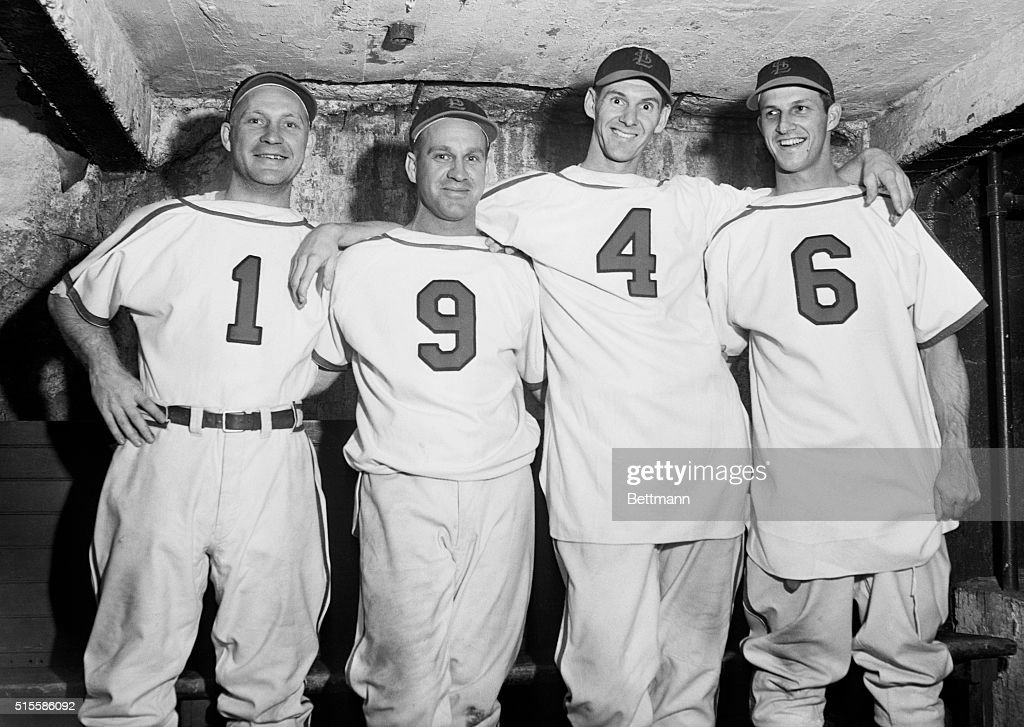 - Here are the four star players of the St. Louis Cardinals, who won the National League championship today by defeating the Brooklyn Dodgers 8 to 4 in the second game of the 2-out-of-3 playoff series at Ebbets Field, breaking the National League pennant tie. They are (L to R): Whitey Kurowski, Enos Slaughter, Marty Marion and Stan Musial, with their shirt numbers reading 1-9-4-6, indicating that the Cards are the National League champions for this year.