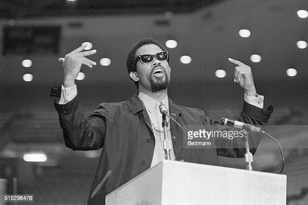 10/4/1968Los Angeles CaliforniaBlack Panther Minister of Information Eldridge Cleaver addresses an estimate 7500 students at UCLA's Pauley Pavilion...