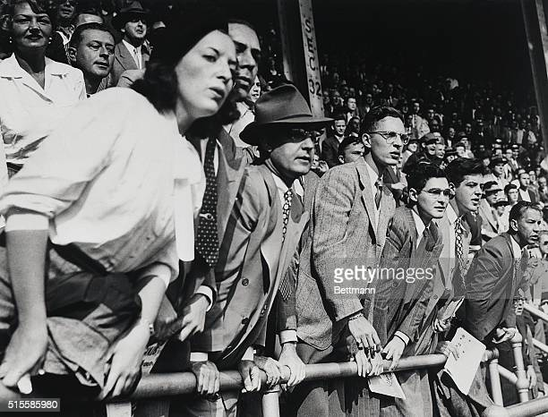 10/5/1947New York NY This view of fans seated in Yankee Stadium watching the sixth World Series game illustrates the extreme anxiety and tenseness of...
