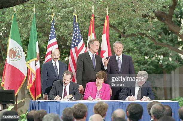 10/7/1992San Antonio TX The North American Free Trade Agreement was initialed in San Antonio 10/7 with President Bush Mexican President Carlos...