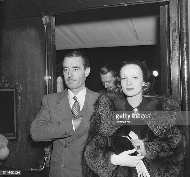 10/9/1935Hollywood CA Marlene Dietrich beautiful film actress and John Gilbert handsome leading man of the films who are the newest couple to be...