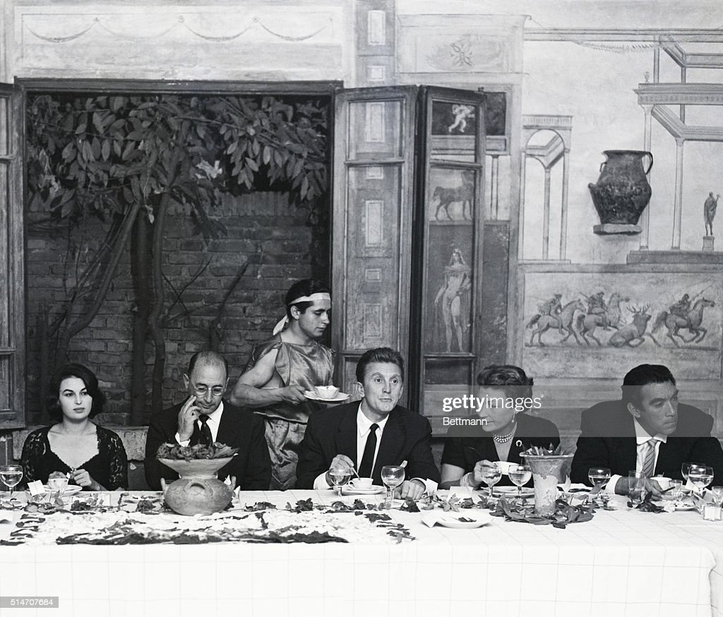 10/9/1953Ostia Antica Italy Film star Kirk Douglas is host at a farewell party for the members of the cast and crew of the motion picture 'Ulysses'...