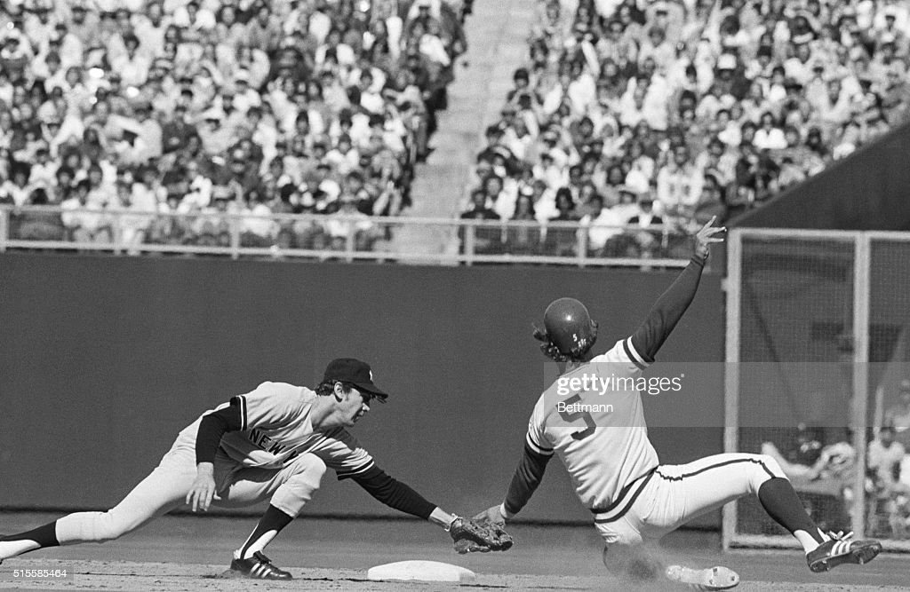 10/9/1976Kansas City MO Kansas City Royals' George Brett is tagged out by New York Yankees shortstop Fred Stanley as he attempted to steal second in...