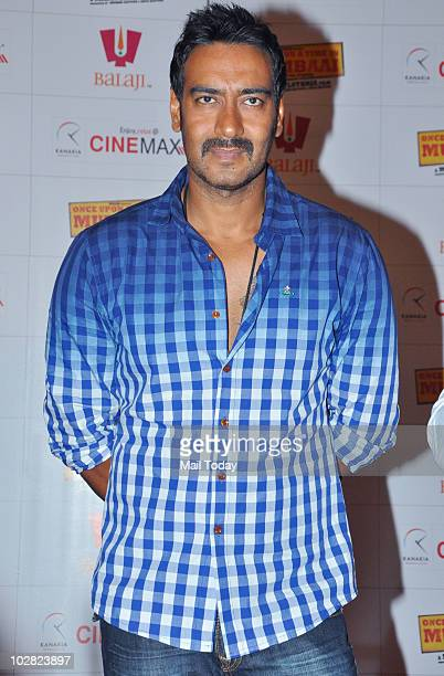 Ajay Devgan at a promotional event for the film Once Upon A Time In Mumbai in Mumbai on July 10 2010