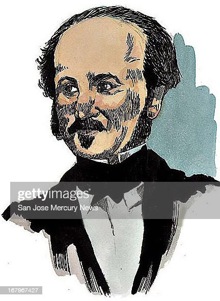 10p x 14p Jim Hummel color illustration of John A. Sutter, man who owned sawmill where gold was found in California in 1848.