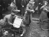 Slave workers fighting over looted food outside a flour mill in Lemgo a German town captured by soldiers of the US 9th Army