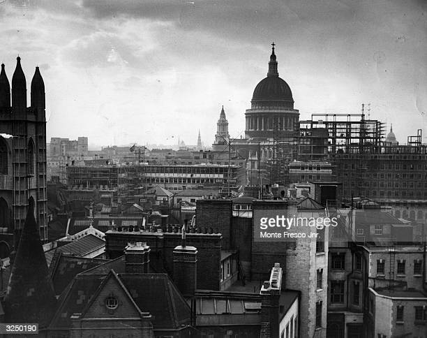 St Paul's cathedral skyline and some of the reconstruction being carried out in London after the war