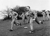 Leeds United manager Don Revie training with Jack Charlton