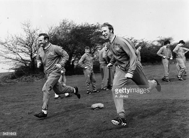 Leeds United manager Don Revie training with Jack Charlton