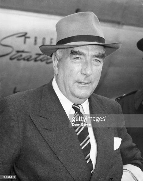 Head of the Five Nations Committee and Prime Minister of Australia Robert Menzies at London Airport He is in England for the 24power Suez Canal...