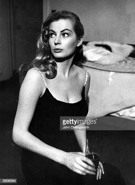 Swedish actress Anita Ekberg at the Savoy Hotel London Original Publication Picture Post 8157 'Picture Post' Thaws Miss Iceberg pub 1955