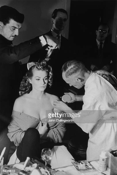 Swedish actress Anita Ekberg being made up for press photographs at the Savoy Hotel London Original Publication Picture Post 8187 Picture Post Thaws...