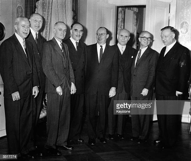 Eight of the nine 1956 Nobel prizewinners at Birger Ekeberg's traditional reception at Stockholm From left to right Walter Houser Brittain Dickinson...